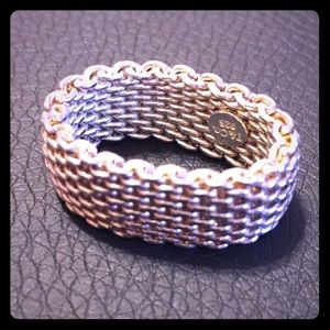 Tiffany & Co Sterling Silver Somerset Mesh Ring